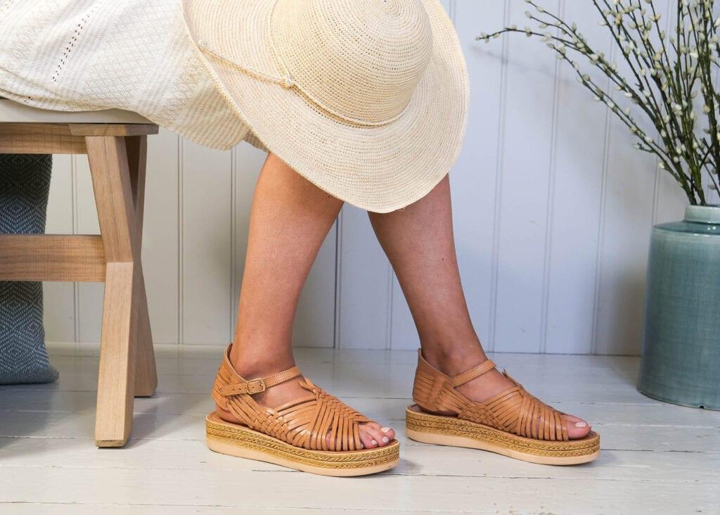 Chloe Raised Sandals Tan